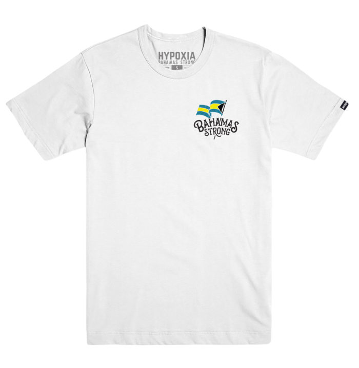 Hypoxia Freediving Spearfishing Bahamas Strong Disaster Aid Tshirt for Hurricane Dorian Relief - White Back