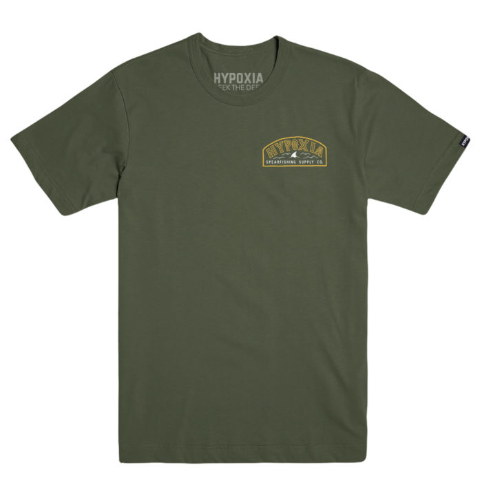 Hypoxia Freediving Spearfishing Fin Badge Tshirt Moss Front